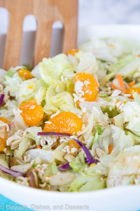 Asian Salad - the classic Asian ramen noodle salad using a homemade dressing - no seasoning packet necessary! Quick, easy, and great with any meal.