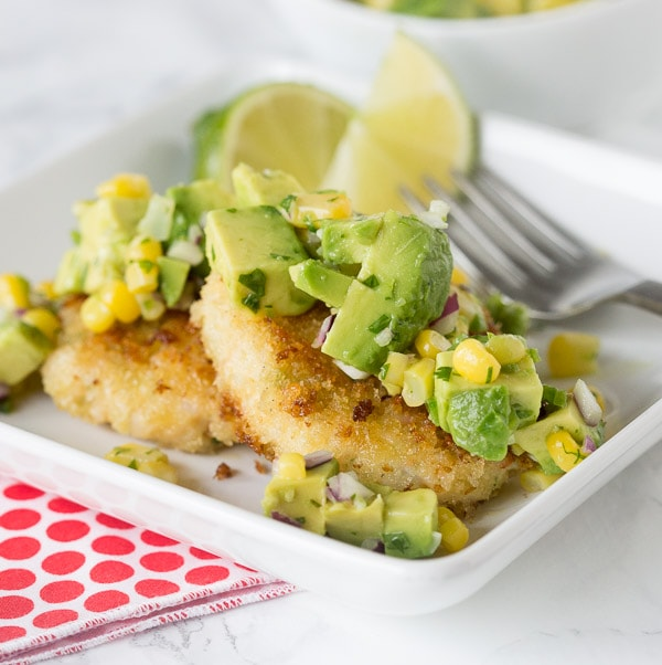 Shrimp Cakes with Corn & Avocado Salsa