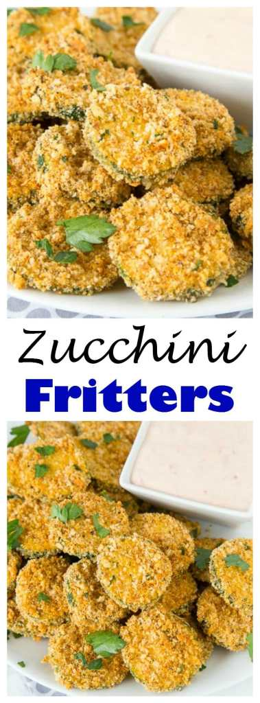 Zucchini Fritters - zucchini coated in taco seasoning breadcrumbs and baked until crispy! Served with a creamy salsa dipping sauce.
