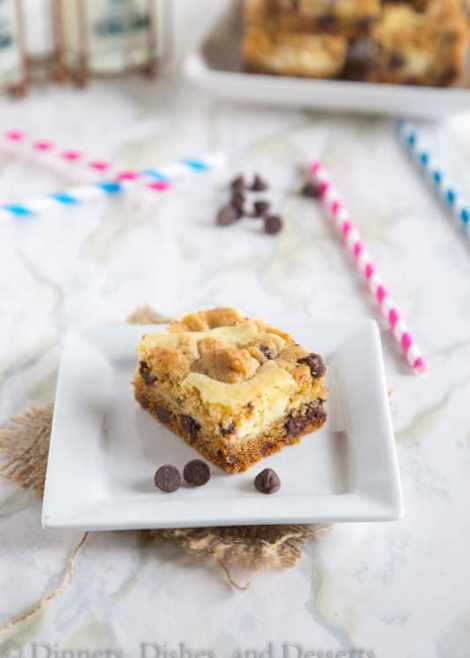 Chocolate Chip Cheesecake Bars {Dinners, Dishes, and desserts}