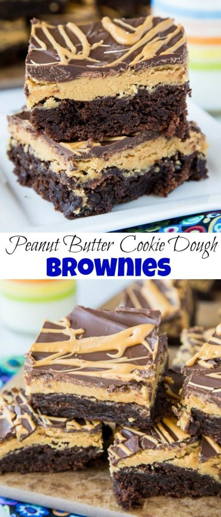 Peanut Butter Cookie Dough Brownies - Fudgy brownies with a layer of egg free peanut butter cookie dough topped with even more chocolate!