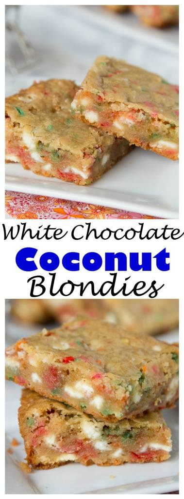 Coconut White Chocolate Blondies - traditional blondies loaded with lots of white chocolate chips, sprinkles, and made with coconut oil instead of butter!
