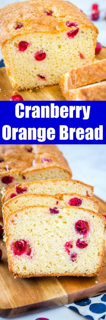 Cranberry Orange Bread - Moist and Tender quick bread with fresh tart cranberries and orange.  Makes for a great snack or breakfast!