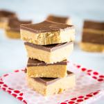 No Bake Peanut Butter Bars - Just 5 simple ingredients and 10 minutes and you can have bars that taste like homemade peanut butter cups! The perfect easy dessert to make any day of the week!