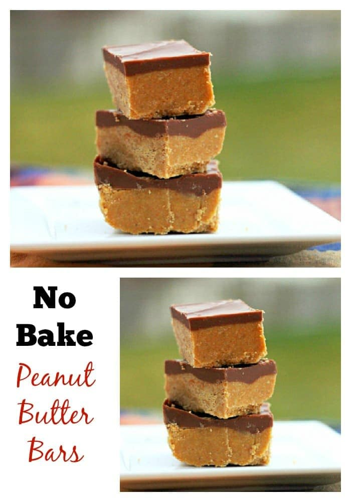 No bake peanut butter bars. Tastes like homemade peanut butter cups!
