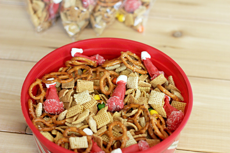 snack mix in a red bowl