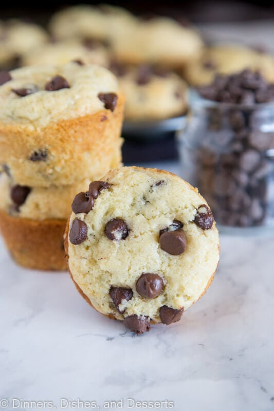 A close up of food, with Muffin and Chocolate chip