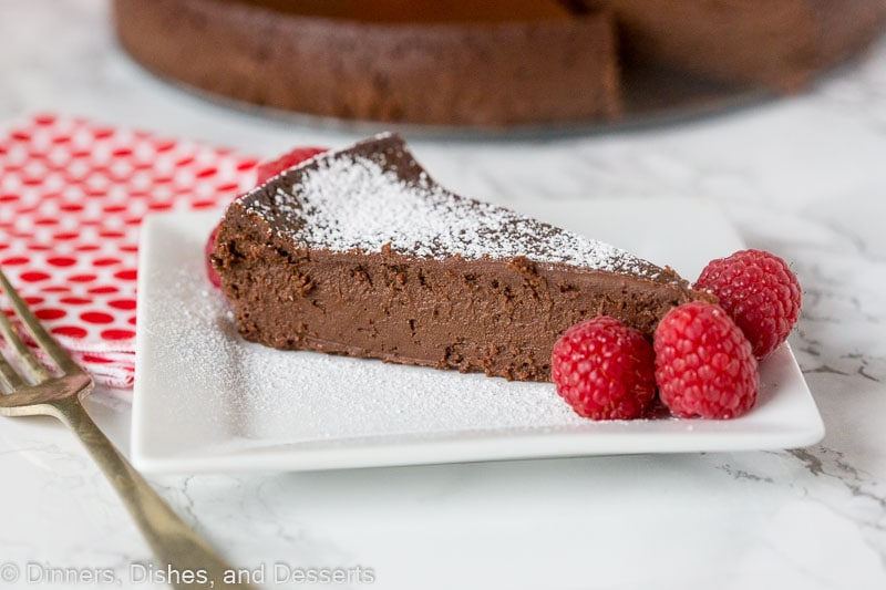 Flourless chocolate cake - slice with berries