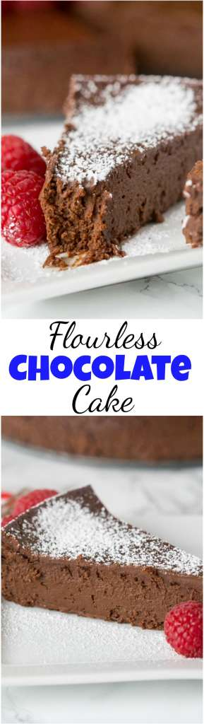 flourless chocolate cake collage