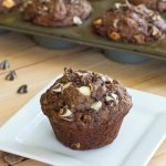 Chocolate Banana White Chocolate Chip Muffins - Moist and tender chocolate and banana muffins with lots of white chocolate chips.