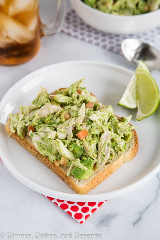 Toasted bread topped with chicken salad made with avocado and no mayo