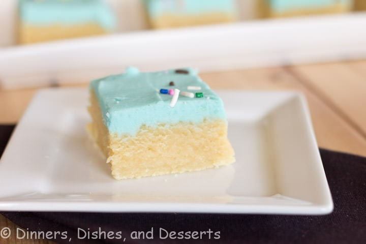 sugar cookie bars on a plate