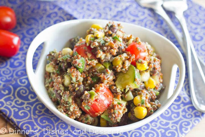 mexican quinoa salad with creamy avocado dressing in a bowl