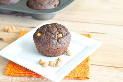 Chocolate muffins with applesauce and Greek yogurt. They are actually healthy! I couldn't help it, and mixed in peanut butter chips to make it even better.
