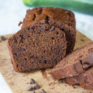 double chocolate zucchini bread on board