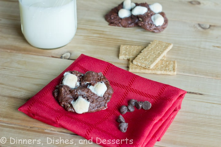 smores brownie cookies on a napkin