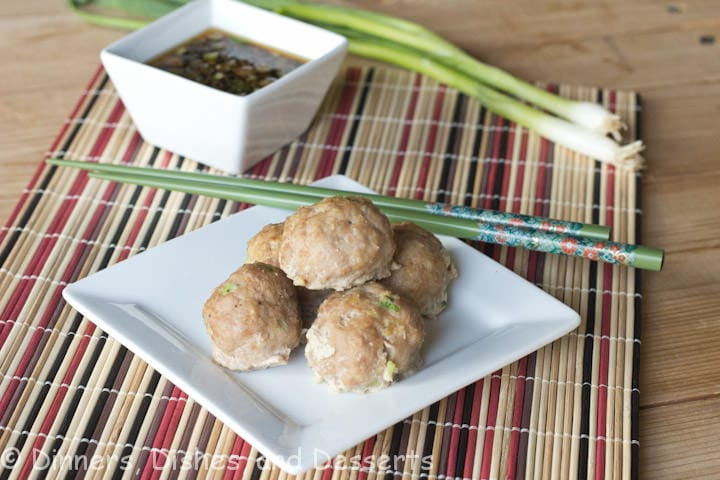 asian turkey meatballs on a plate