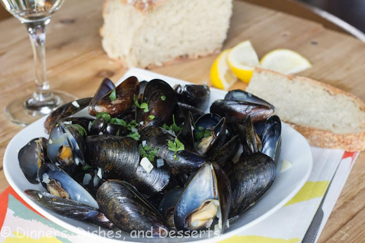 steamed mussels on a plate