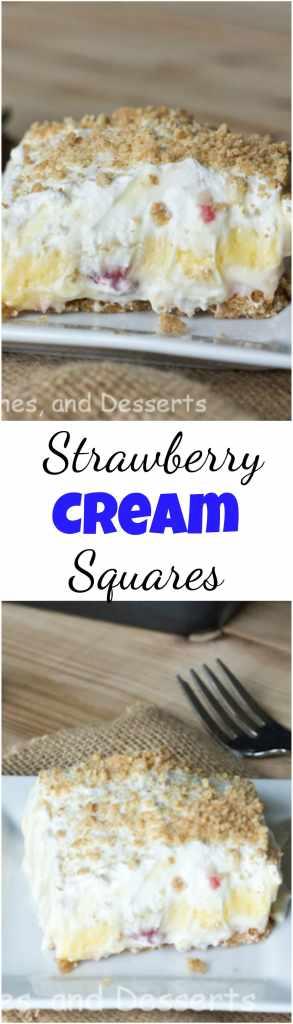 Easy no bake strawberry cream squares