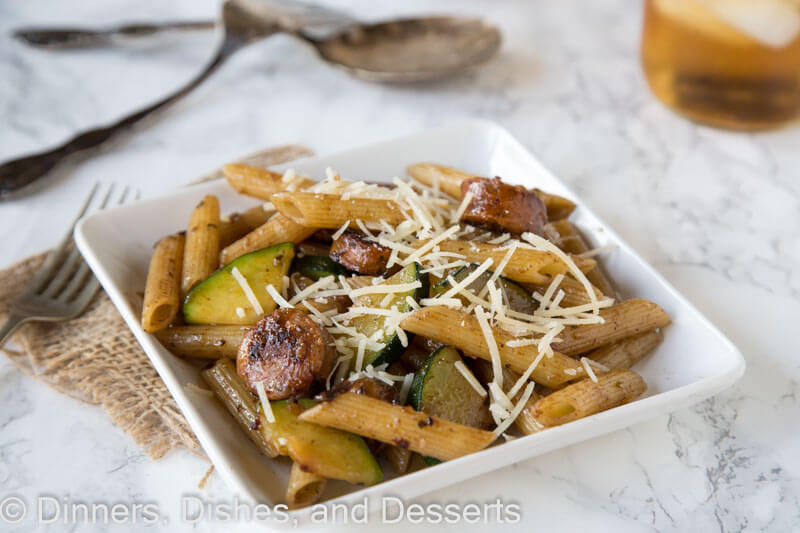 Balsamic Pasta with Chicken Sausage & Veggies - Pasta with sauteed veggies and chicken sausage tossed with a balsamic vinaigrette. Quick and easy weeknight meal, that is also good for you.