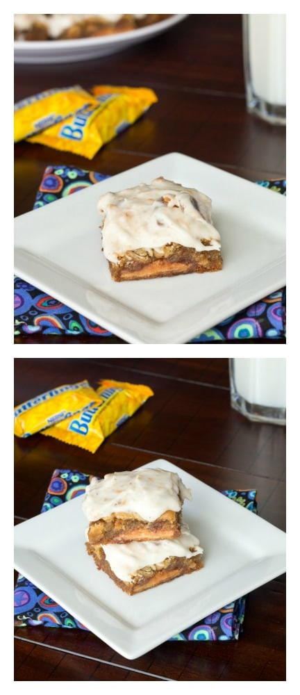 Butterfinger Blondies topped with a Butterfinger Frosting!