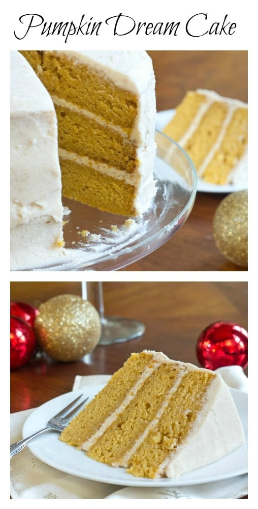 Pumpkin Dream Cake - Three layer pumpkin cake with a Cinnamon Butter Cream Frosting. Gorgeous, and perfect for any Holiday table.