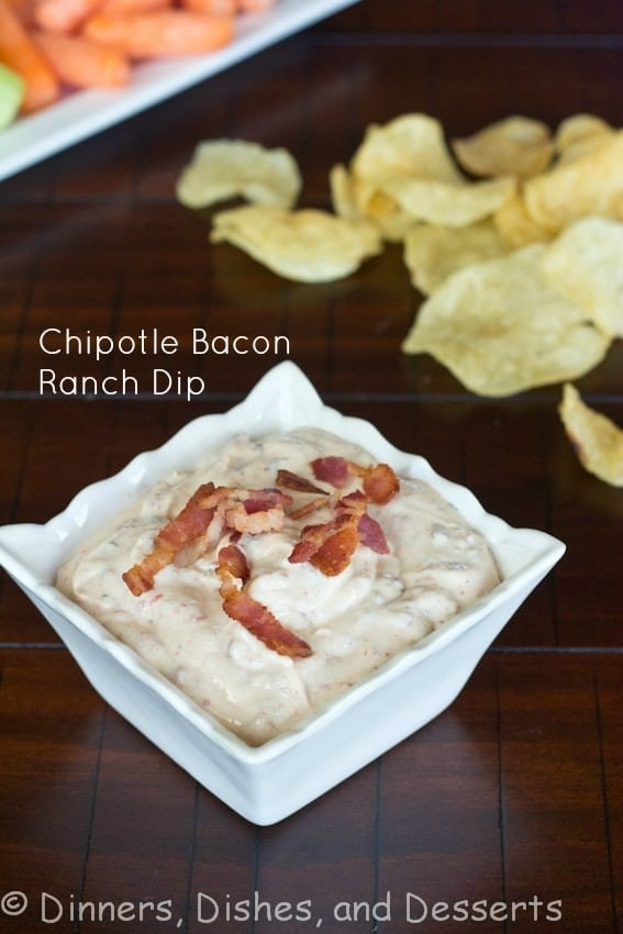 chipotle bacon ranch dip in a bowl