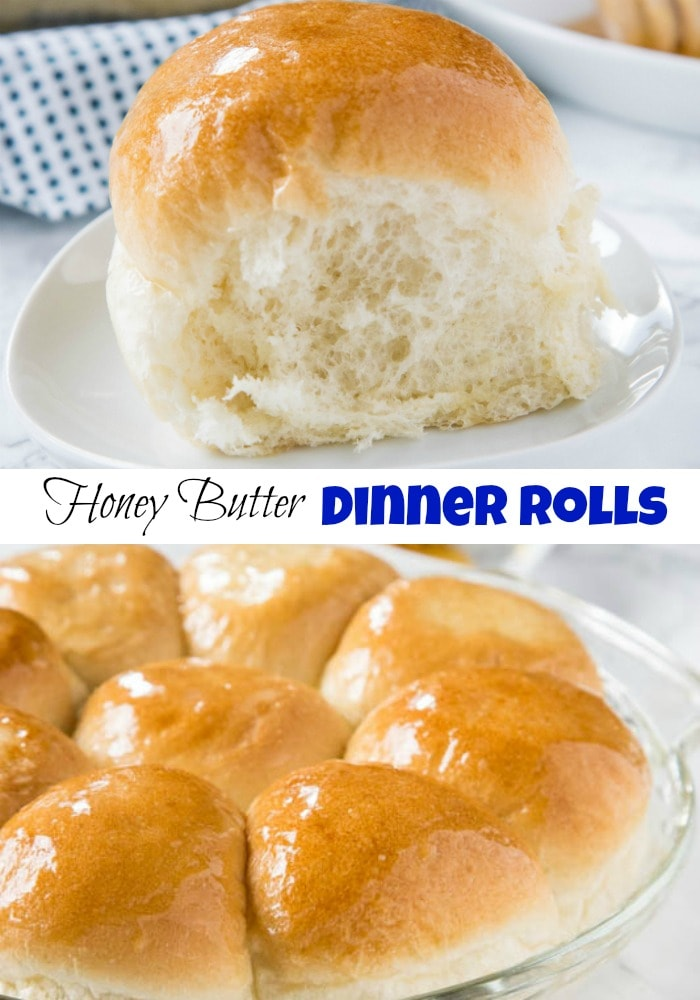 Honey Butter Dinner Rolls - A light and fluffy homemade dinner rolls recipe that goes with just about anything!