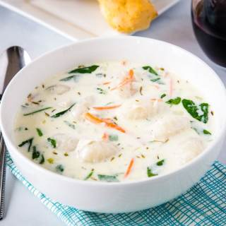 Chicken Gnocchi Soup - Olive Garden Chicken Gnocchi Soup at home!  This version is lightened up a little bit, so you can eat it any day of the week with no guilt!