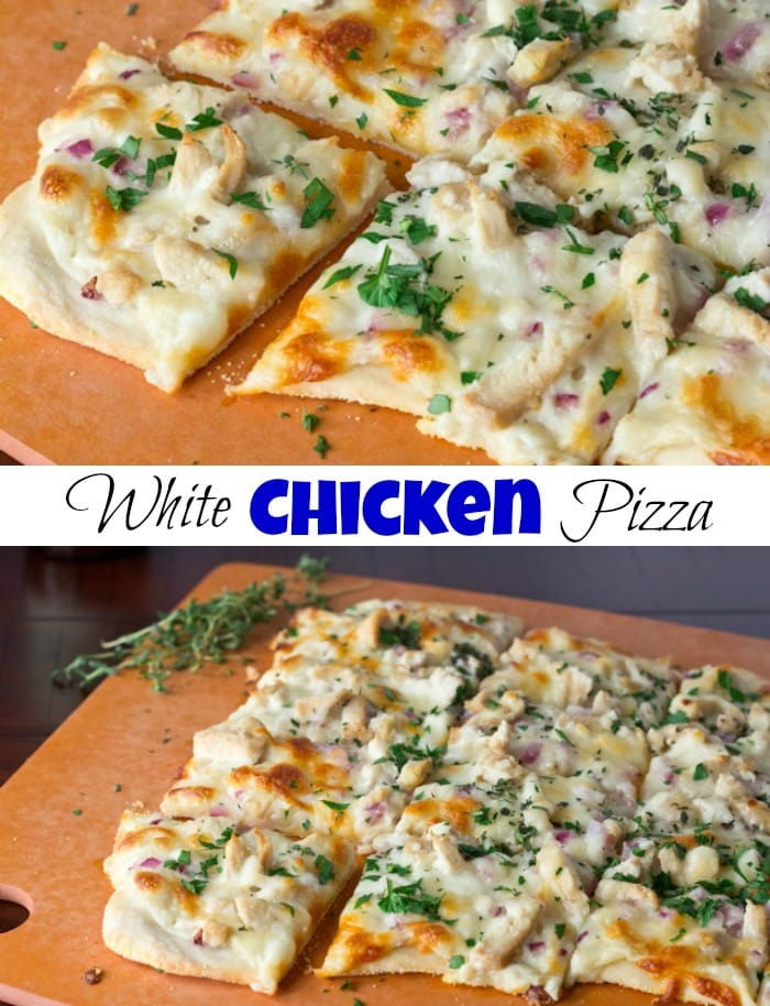 Roasted Garlic, Chicken & Herb White Pizza - Roasted garlic sauce topped with chicken, red onions, and herbs. A great white chicken pizza that will rival any pizza out there!