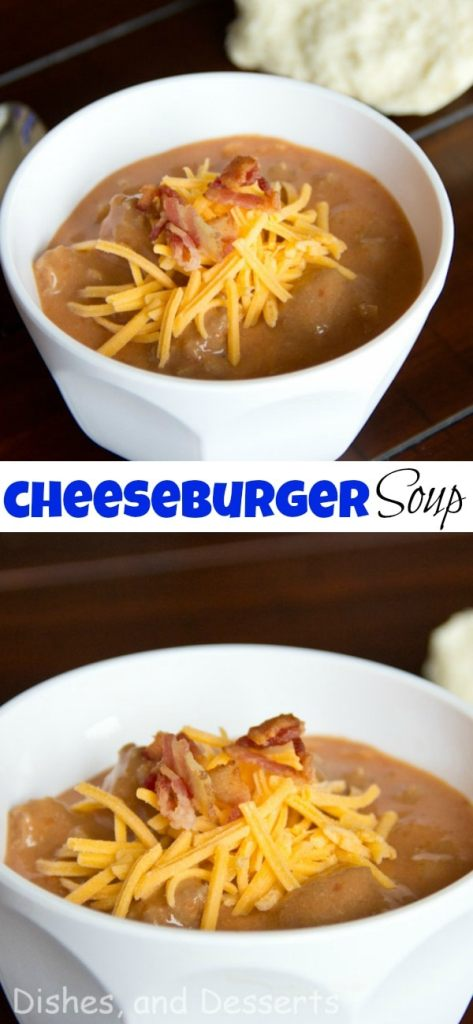 Cheeseburger Soup - Your favorite summer time sandwich in a warm and comforting soup. Top with bacon, cheese and your other favorite burger toppings for a delicious dinner!