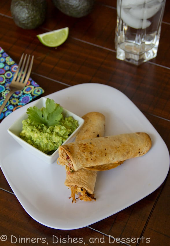 Baked Chicken Taquitos - Fill tortillas with chicken and whatever else you like, then bake them to crispy perfection! Serve with salsa or guacamole for dipping. Great use for leftover chicken!
