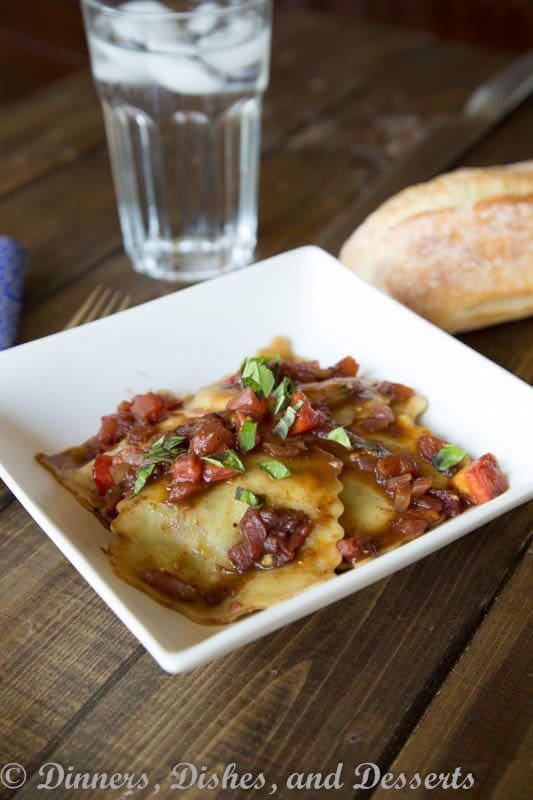tomato balsamic ravioli on a plate