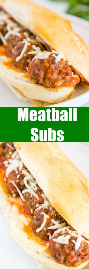 Meatball Subs - Easy Italian Meatballs Sub Sandwiches with homemade (or frozen) meatballs, with 2 kinds of cheese and toasted in a hoagie roll. Simple, delicious and a great dinner.