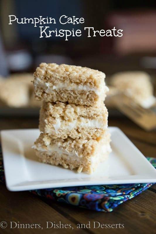 Pumpkin Cake Rice Krispie Treats - Pumpkin spiced rice krispie treats with a layer of cream cheese frosting.