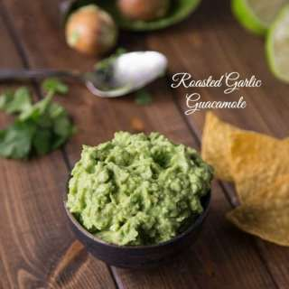 roasted garlic guacamole in a bowl