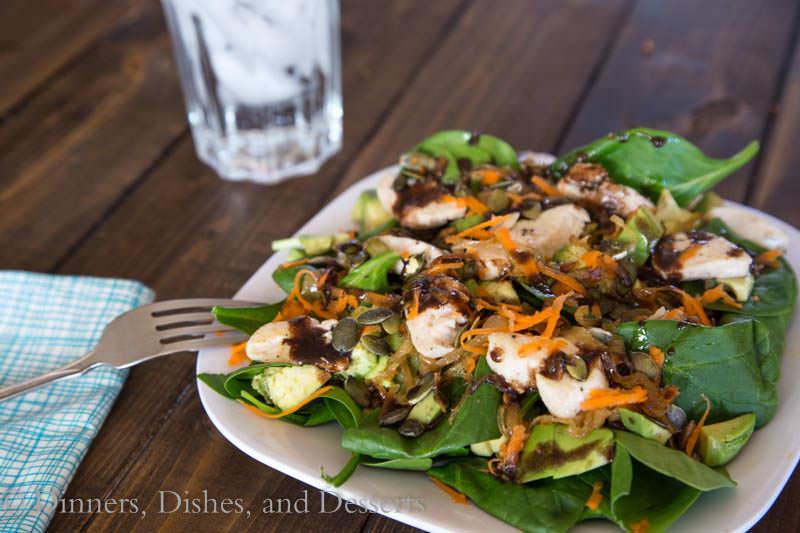 Spinach Chicken Salad w/ Garlic Balsamic Vinaigrette