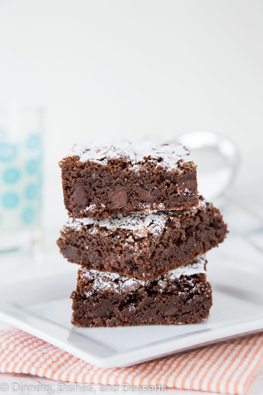 Nutella Brownies - an absolute chocolate lover's dream! Homemade brownies filled with 3 kinds of chocolate for an absolutely delicious treat!