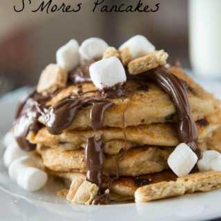 smores pancakes on a plate