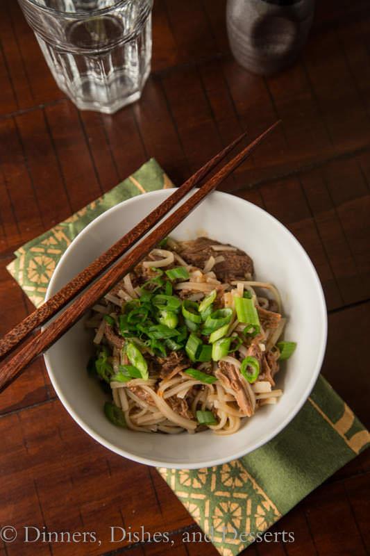 Slow Cooker Sesame Beef Noodle Bowls