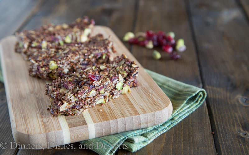 Homemade Energy Bars with Pistachios, Cranberries, Oats, Quinoa, and Almond Butter | Dinners, Dishes, and Desserts