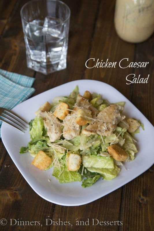 Chicken Caesar Salad - lightened up by using yogurt in the dressing