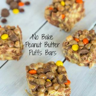 No Bake Peanut Butter Puffs Bars - Peanut butter, peanut butter candies, peanut butter cups, and peanut butter puff's cereal!