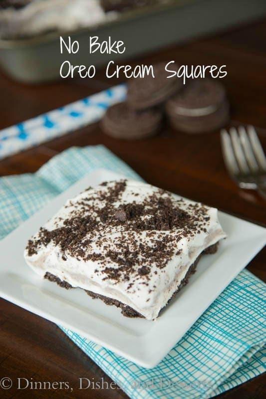 No Bake Oreo Cream Squares - quick and easy no bake dessert!