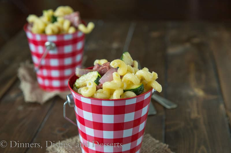 Pasta Salad with Summer Sausage and Grilled Veggies {Dinners, Dishes, and Desserts}