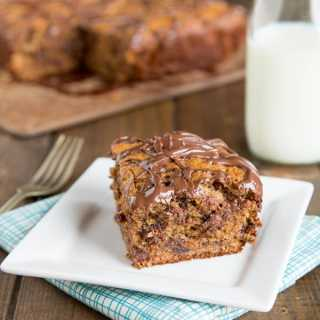 Peanut Butter Banana Snack Cake - This banana cake recipe is so tender and delicious with the peanut butter, chocolate chips, and topped with Nutella!