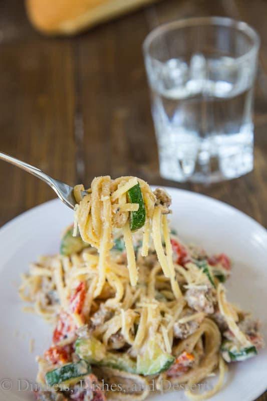 Creamy Zucchini, Tomato & Ricotta Pasta - fresh zucchini and tomatoes in a creamy ricotta sauce