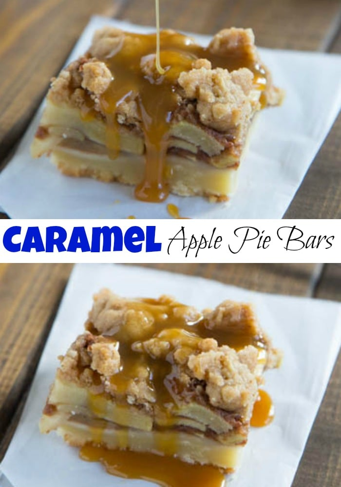 Caramel Apple Pie Bars - A shortbread crust topped with cinnamon spiced apples, struesel and the drizzled with caramel. A perfect fall dessert.