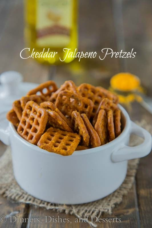 Cheddar Jalapeno Pretzels - cheddar flavored pretzels with a little kick