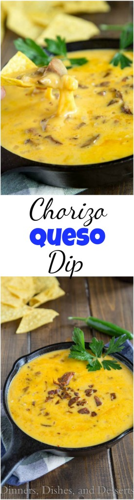 Chorizo Queso Dip -Lots of gooey, melty cheese with spicy chorizo mixed in is sure to make game time even better! #cheese #cheesedip #queso #recipe #food #gameday #footballfood